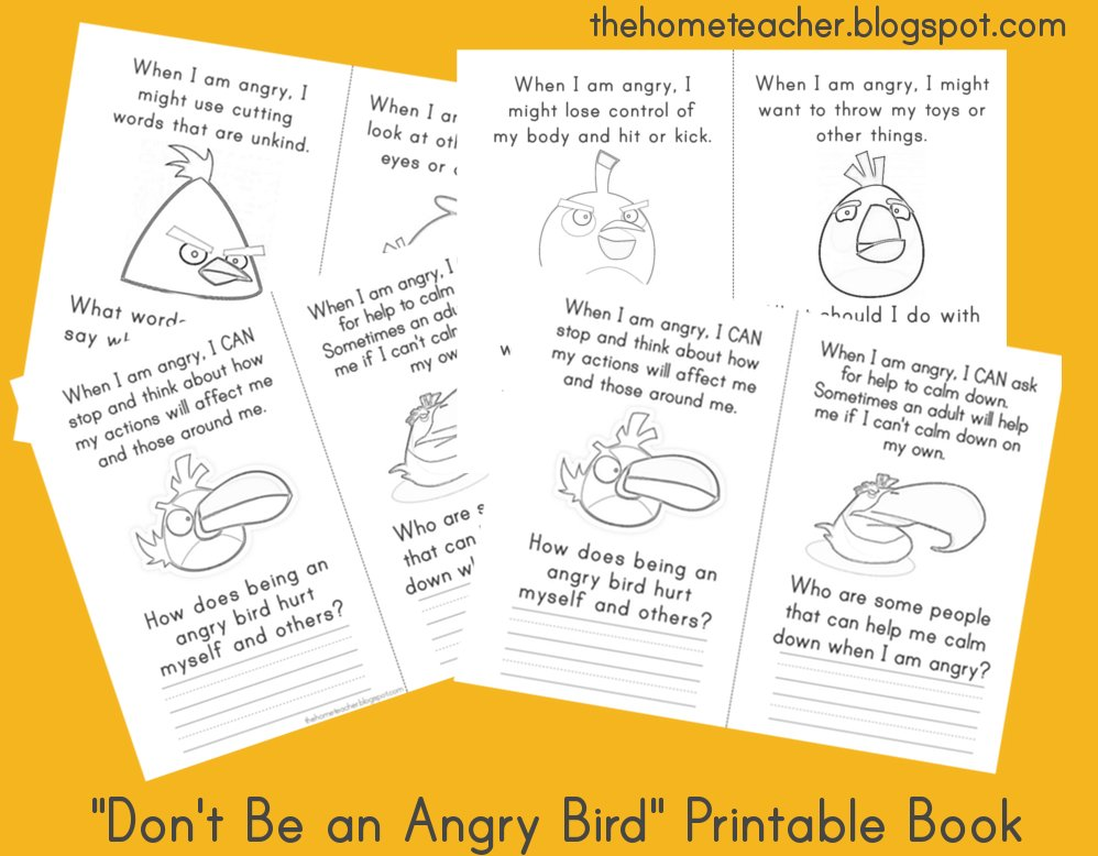 Dont Be An Angry Bird Free Printables The Home Teacher – Anger Management Worksheets for Kids